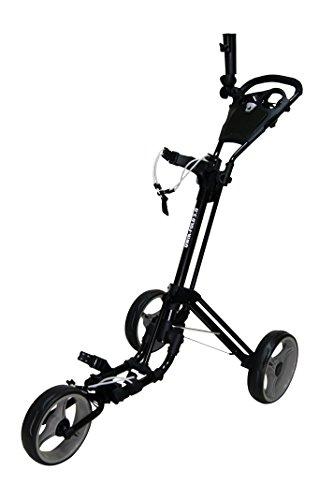 QWIK-FOLD - Chariot de golf 3 roues Chariot de golf Push Pull - Frein à pied - Une seconde pour ouvrir et fermer ! (Noir/Charbon de bois)