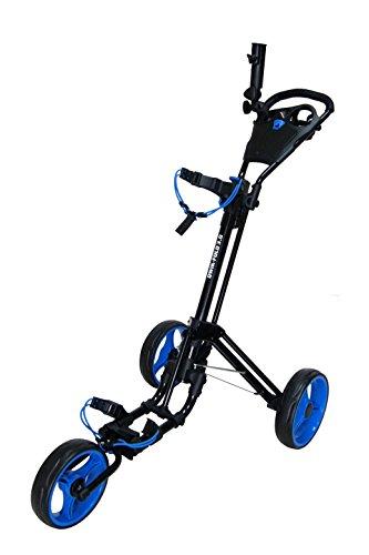 QWIK-FOLD - Chariot de golf 3 roues Chariot de golf Push Pull - Frein à pied - Une seconde pour ouvrir et fermer ! (Noir/Bleu)