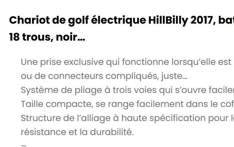 Chariots de golf électrique Hill Billy